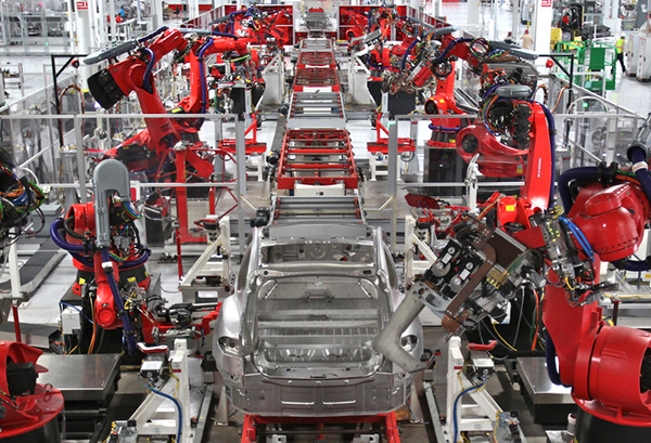 Automated production line at the Fremont Tesla factory